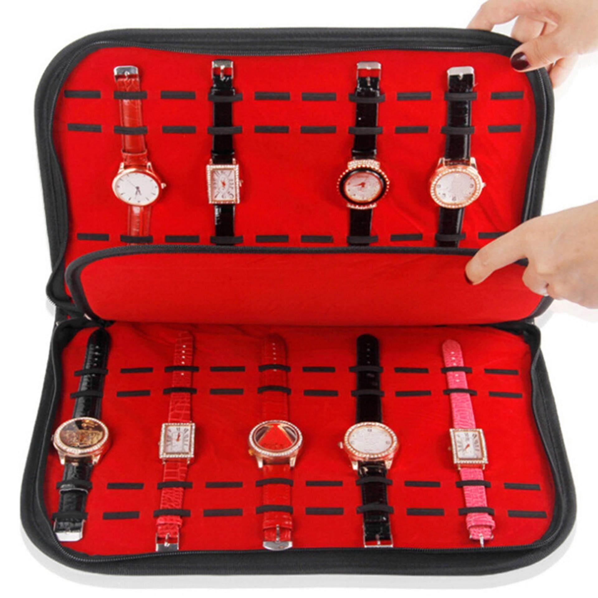 Grids Watch Case With Zipper Velvet Wristwatch Display Storage Box Malaysia