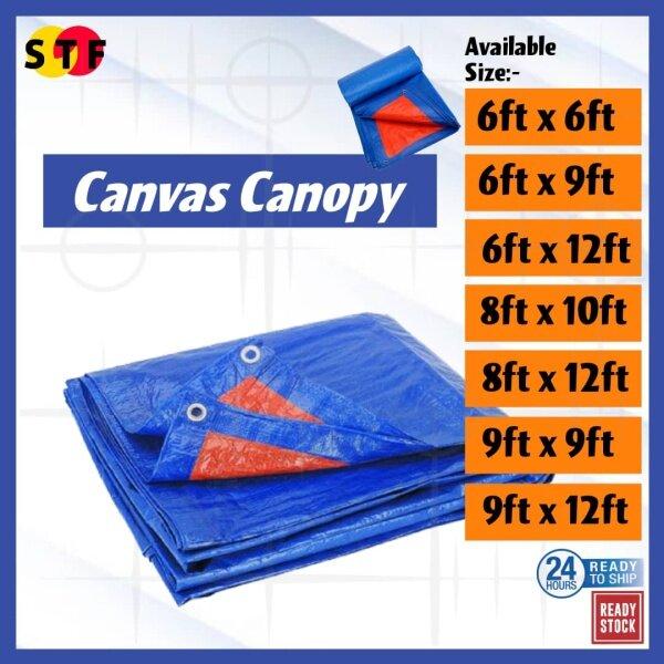 Waterproof Tarpaulin Sheet Blue Orange Canvas (6ft, 8ft & 9ft) Kanves  Khemah Pasar Kolam Ikan Tutup Kereta Lori Atap