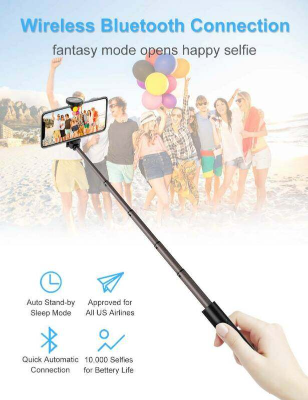 ♥ Ready Stock ♥Stylish New Bluetooth Selfie Stick Mini Retractable with Built-in Wireless Remote for IPhone