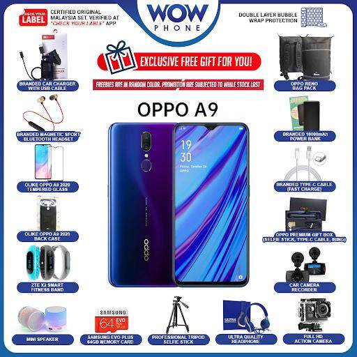 [Exclusive Freebies Package Bundle!!] OPPO A9 2020 Original Handphone (8GB RAM / 128GB ROM) 1 Year Warranty By OPPO Malaysia!!