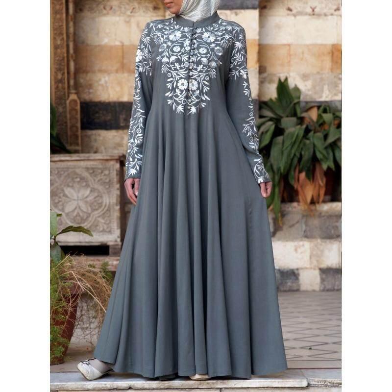Arabian New Women S Fashion Casual Muslim Baju Jubah Muslimah Islamic Loose Comfortable Cotton Long Sleeved Dress