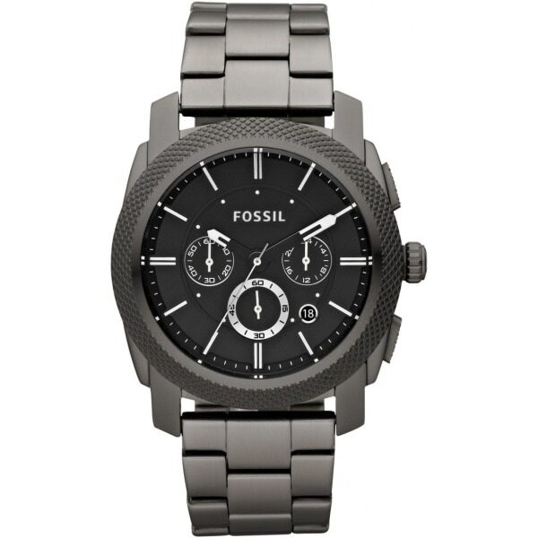 Authentic Fossil Mens Machine Chronograph Smoke Black Dial Stainless Steel Watch FS4662 Malaysia