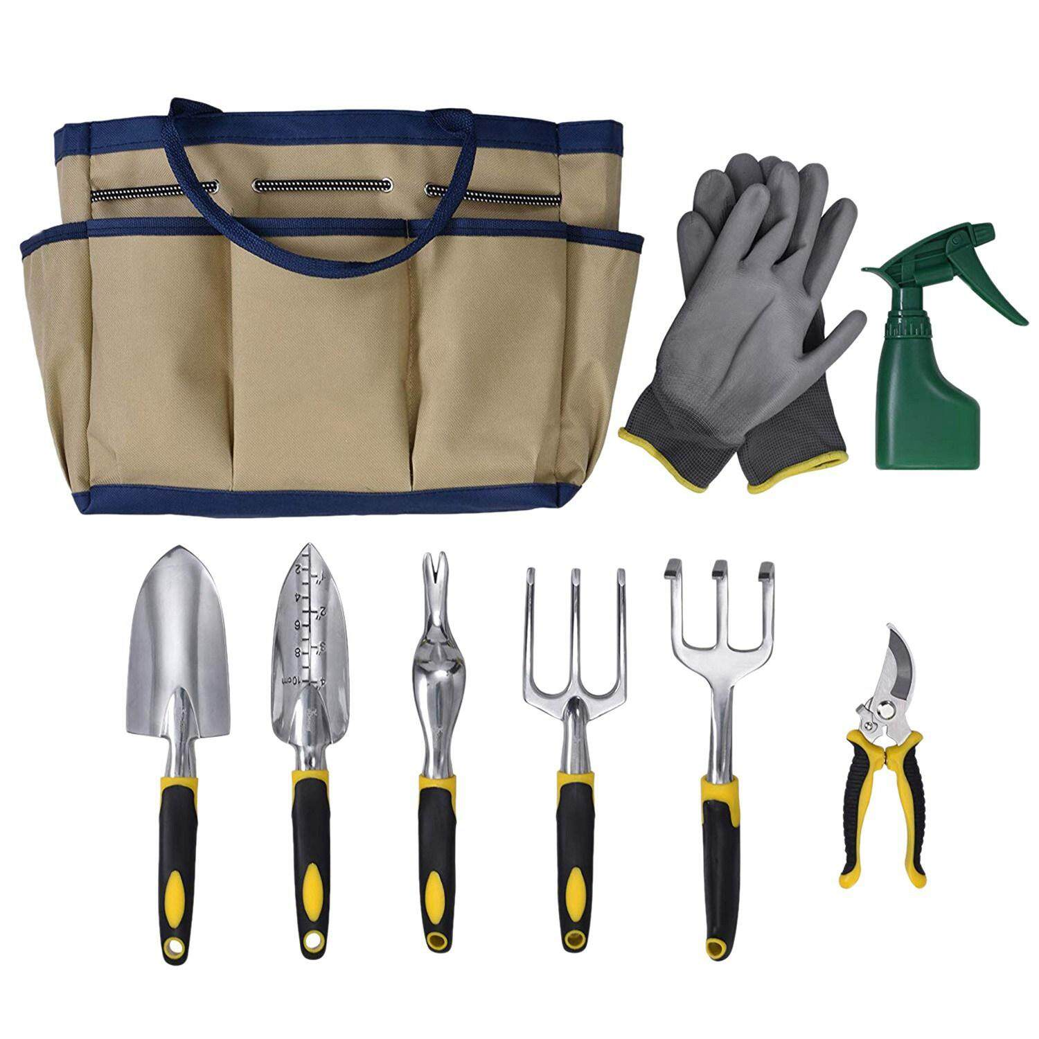 9 Piece Garden Tool Set Includes Garden Tote Bag And 6x Hand Tools