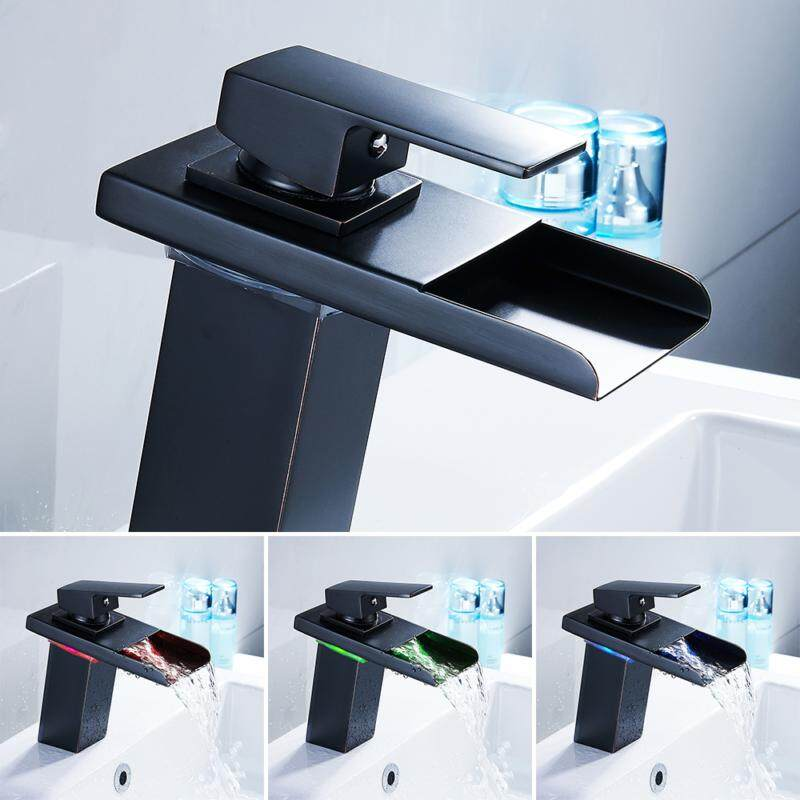 LED Basin Faucets Bathroom Faucet Cascade Chrome Temperature Sense G3 / 8