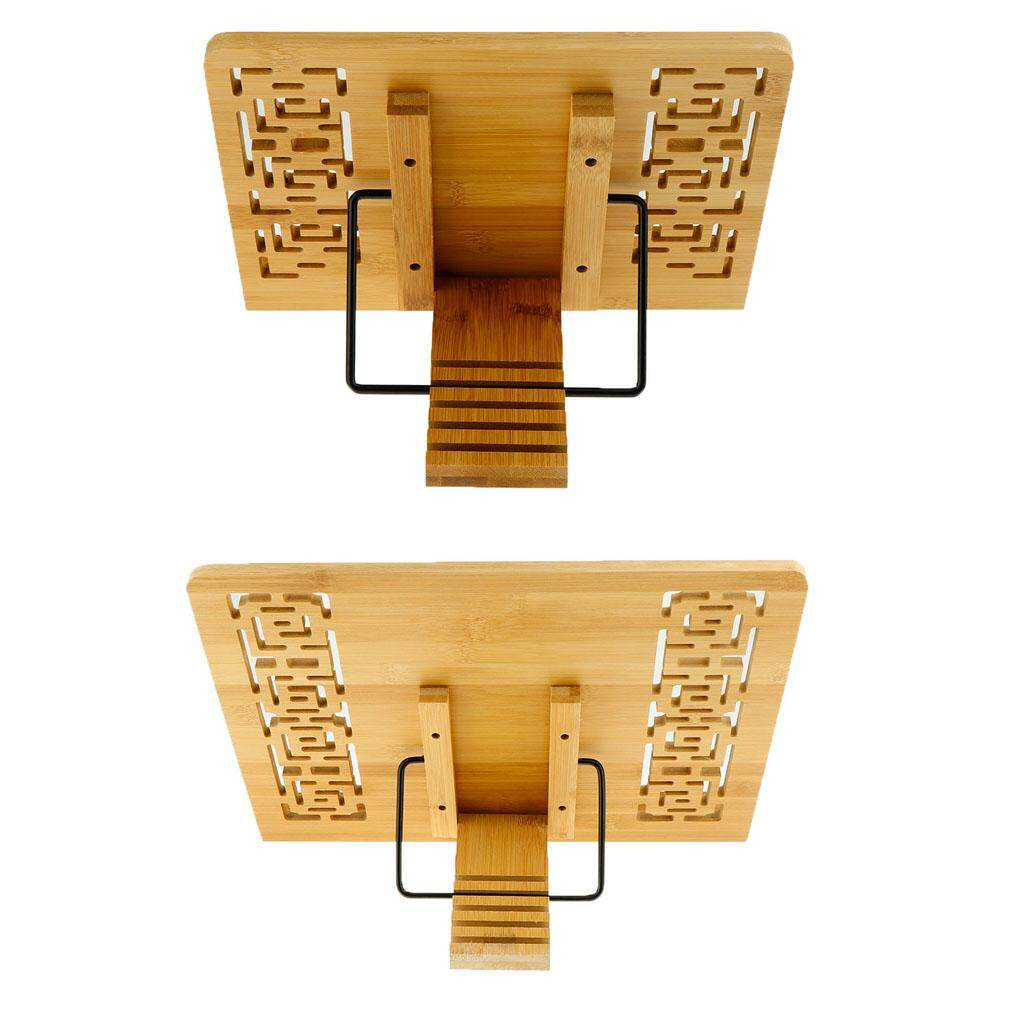 BolehDeals 2 Pieces Multifunctional Book Stand Bamboo Document Reading Holder Chinese