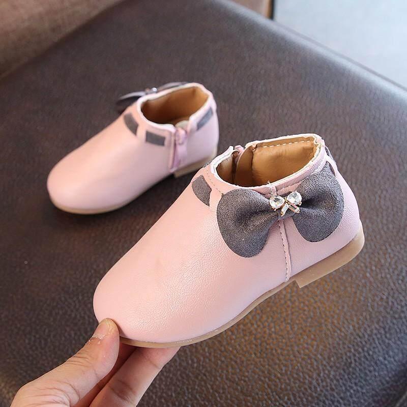 Giá bán Thời trang Cho Bé Gái Dễ Thương Giày Sneaker Tăng Sơ Sinh Giày Trẻ Em chống trơn trượt Dây Kéo Boot có Nơ