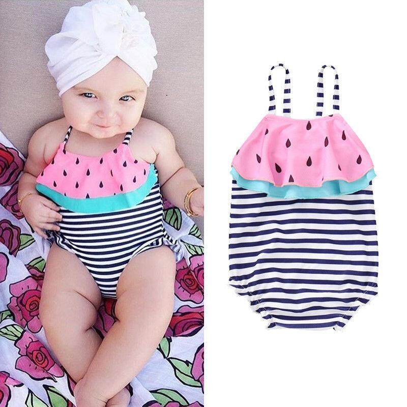 Baby Kids Girl Stripe Watermelon Swimsuit Swimwear Ruffle Bikini Bathing Suit