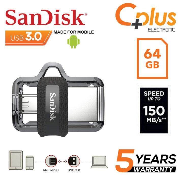 SanDisk Ultra Dual Drive 64GB m3.0 OTG USB Flash Drive for Android & Computers