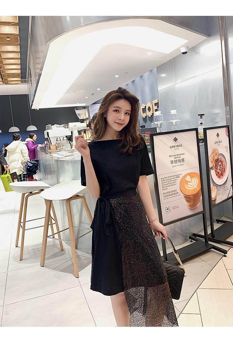 2019 New Korean Summer Word Collar Bandage T-shirt + Irregular Skirt Straps Slim Sequins Two Piece Set