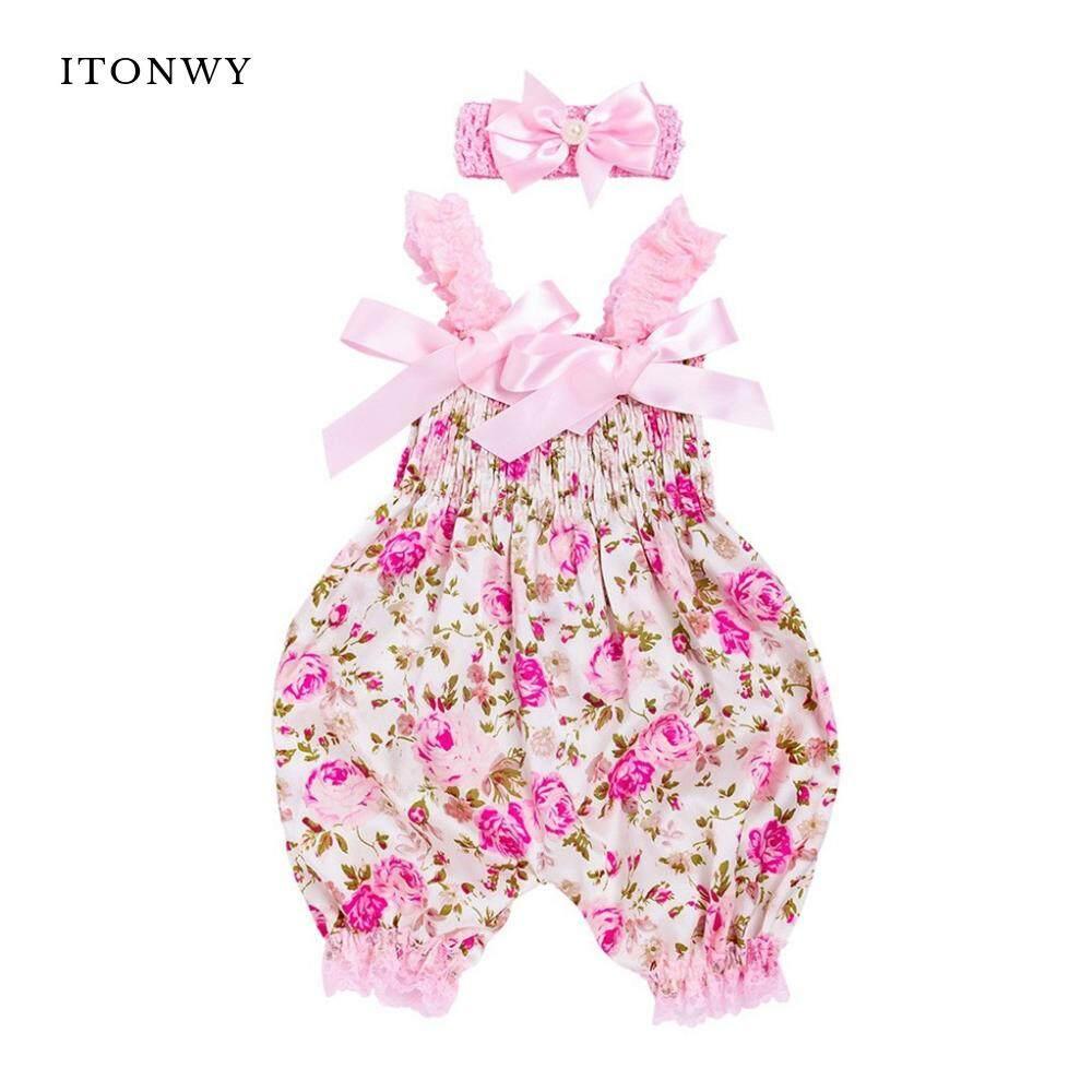 c66b0971af19 ITOWNY Toddler Baby Boys Girls Floral Romper Bodysuit Jumpsuit+Headband Set  Outfit