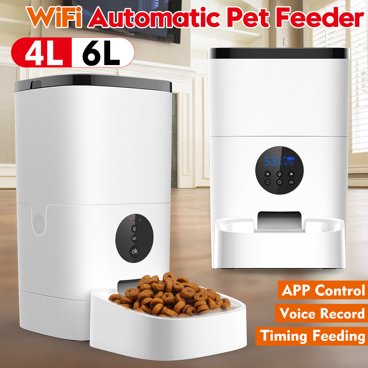 Wifi Button Version 4l Automatic Pet Feeder App Control Voice Recording Timing Feeding Food Dispenser For Cat Dog Lazada