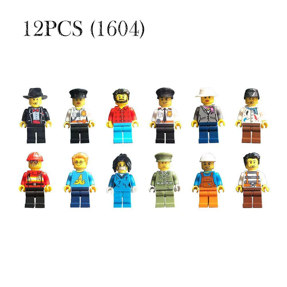 LAY 12pcs/set Buildable Model kids Figure Building Block Worker Police Fit LEGO