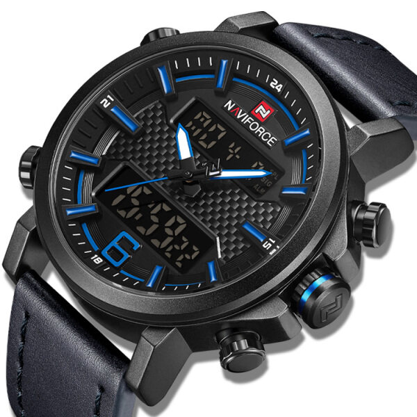 NAVIFORCE Official Men Sports Luxury Watches Dual Display LCD Quartz Multifunction Digital Military Wristwatch Leather Watchband 9135 Malaysia