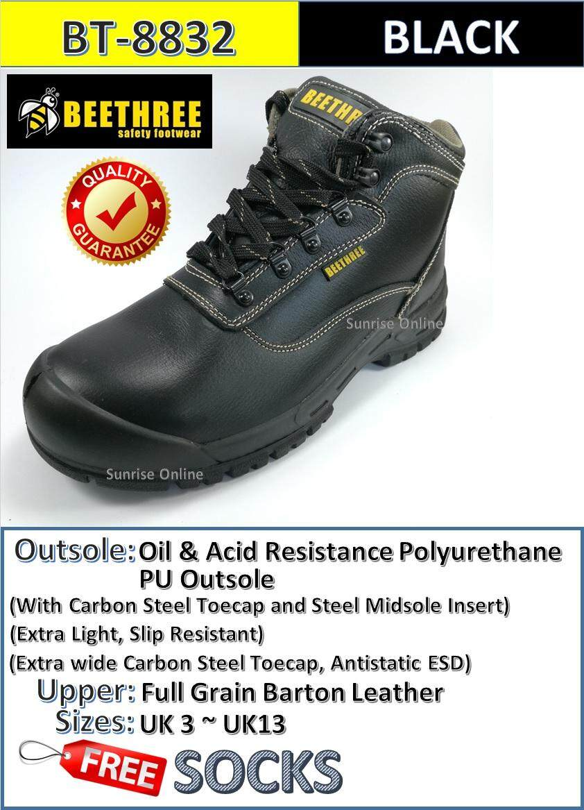 BeeThree Mid Cut Safety Shoes BT-8832 [Durable, Oil & Acid Resistant, Extra Lightweight, Comfortable]