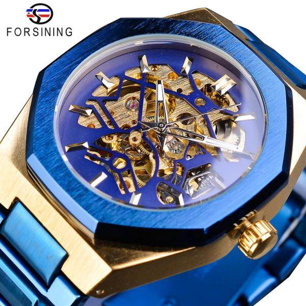 Forsining silver mens watch top brand luxury automatic mechanical stainless steel fashion skeleton waterproof business clock. Gifts for men Malaysia
