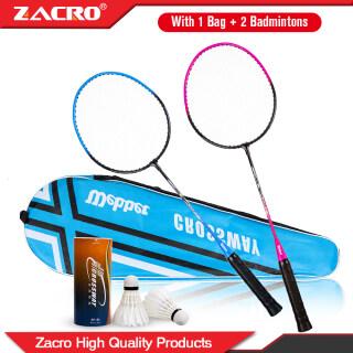 2 Chiếc Zacro VỢT CẦU LÔNG Ferroalloy Với 1 Túi + 2 Badminton Để Huấn Luyện Vợt Loại Tấn Công thumbnail