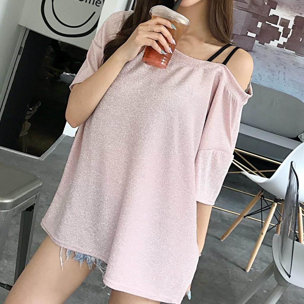 8b8e8ab3681 Summer Women's Shining Shining Top Short Sleeve T-Shirt With Short Shoulders