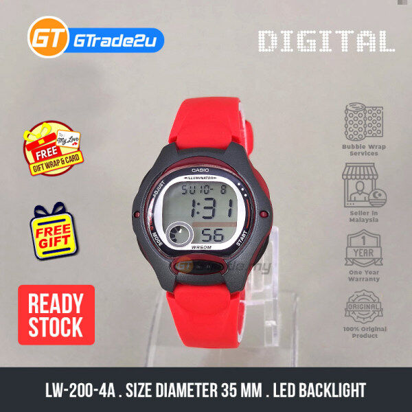 Casio Standard Kids LW-200-4A LW200-4A Digital Watch Red Resin Band watch for kids . jam tangan kanak kanak. kids watch . casio watch for kids . casio watch Malaysia