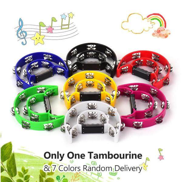Handheld Tambourine Handbell Timbrel Percussion Musical Toy Double Rows 20 Pairs of Metal Jingles for Karaoke KTV Party Kids Games (7 Colors Random Delivery) Malaysia
