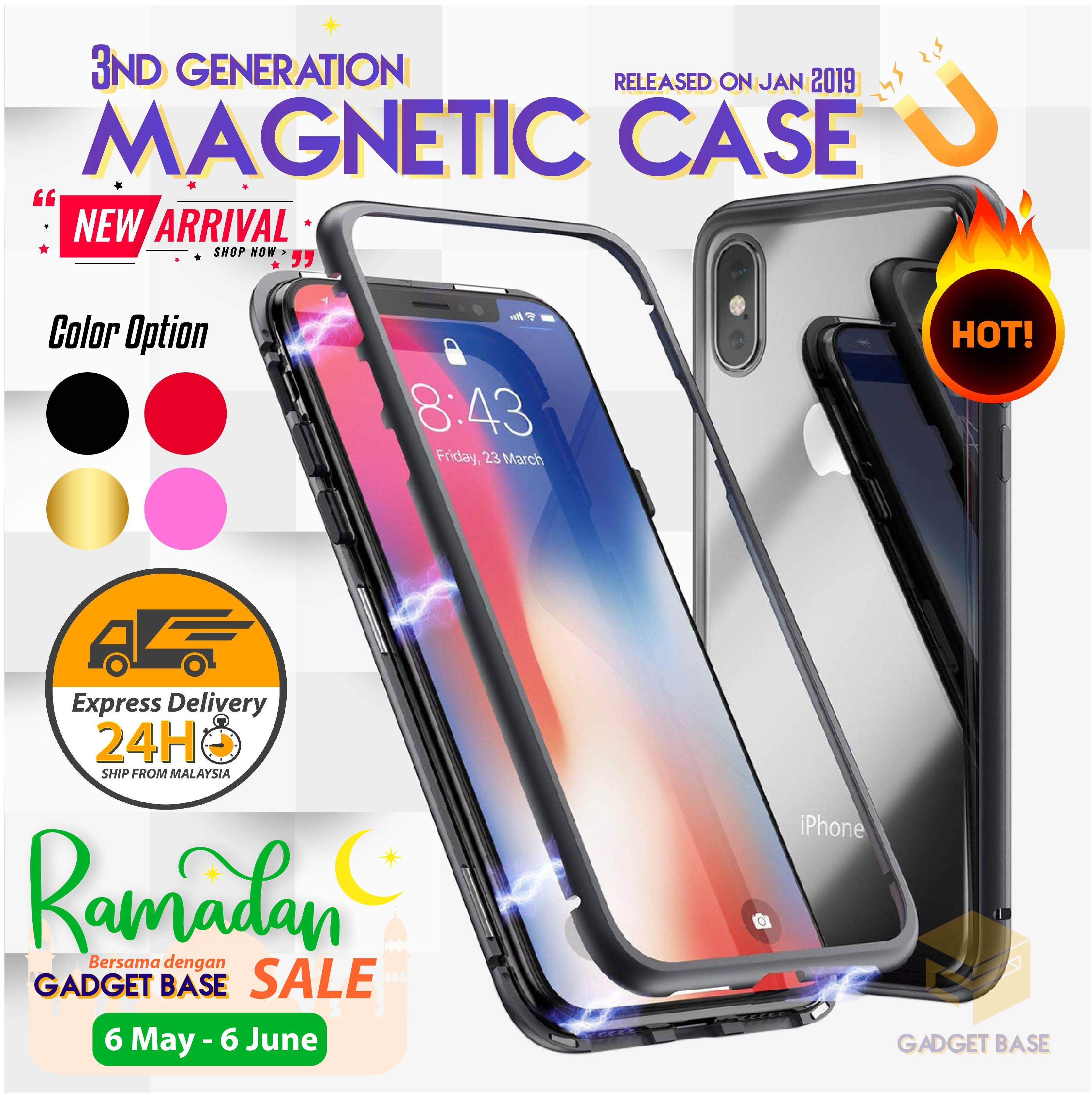 08b9c6ae93140 iPhone X 8 7 6 6S Plus XR XS MAX Casing Case Magnetic Metal Frame Glass  Cover