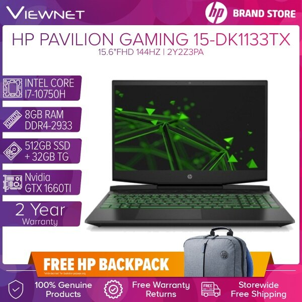 HP PAVILION GAMING LAPTOP 15-DK1133TX INTEL CORE I7-10750H 8GB DDR4 512GB SSD + 32GB TG/NV GTX1660Ti 6GB MQ 15.6FHD 144Hz (2Y2Z3PA) 2 Year Warranty Onsite Malaysia