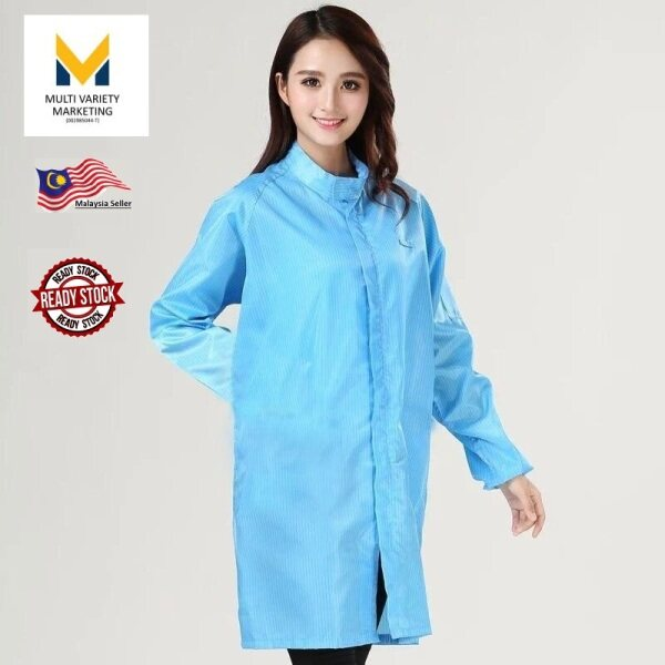 MVM - ESD Smock (Anti Static Lab coat) Round neck Strip Zip , Come With Side Pocket For Pens & Pencils. Perfect for Electronic Manufacturing, Labs, Food industries. Easy Wash .