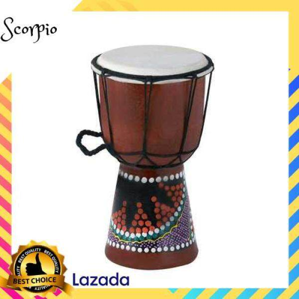 BEST SELLER 4 Inch Compact Size Wooden African Drum Djembe Bongo Hand Drum Percussion Musical Instrument with Colorful Pattern (Patterns Random Delivery) () Malaysia