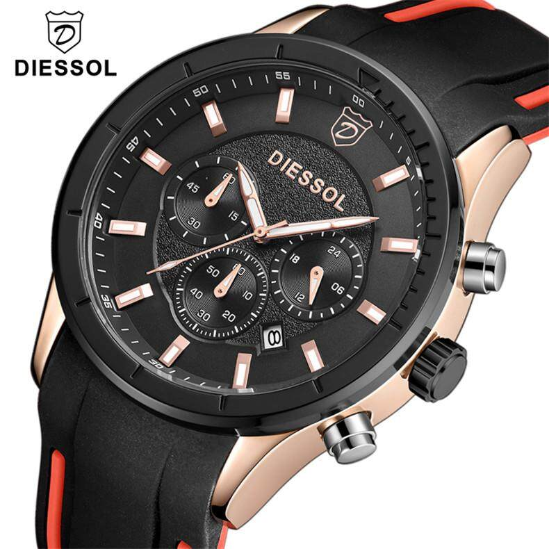 DIESSOL Mens Watches Brand Luxury Fashion Casual Clock Chronograph Quartz Watch Mens Sport Waterproof Wristwatch Malaysia