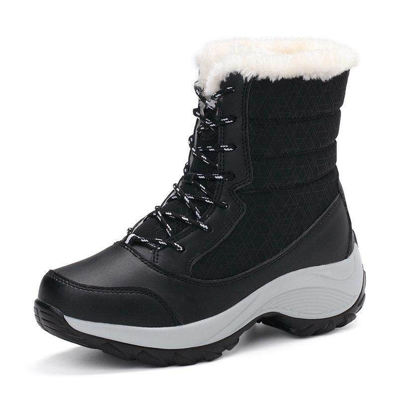 33eb53a92d1 Fashion Women s Winter Shoes Breathable Waterproof Platform Sneakers Warm Snow  Boots Anti-skid Lace Up