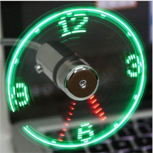 Quạt USB Mini Cầm Tay, Tiện Ích Di Động, Đồng Hồ LED Cổ Ngỗng Linh Hoạt Mát Cho Máy Tính Xách Tay PC Máy Tính Xách Tay Thời Gian Thực Hiển Thị Độ Bền Cao Có Thể Điều Chỉnh