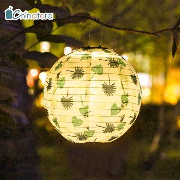 [Chinatera] Đèn LED Năng Lượng Mặt Trời Đèn Lễ Hội Trung Quốc Họa Tiết Lá Đèn Treo Không Thấm Nước, Trang Trí Sân Vườn Ngoài Trời Sân Nhà Chiếu Sáng Cảnh Quan