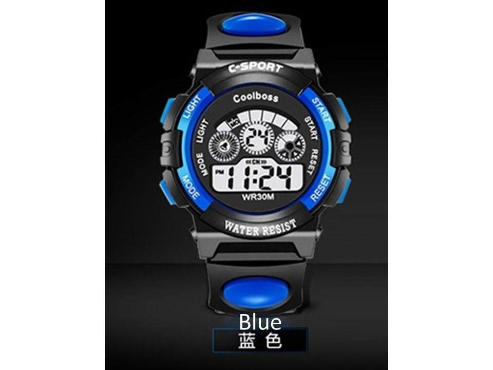 Waterproof Student Children Boy/Girl Kids Digital LED Alarm Date Electronic Quality Sports Wrist Watch (Big), Blue Malaysia