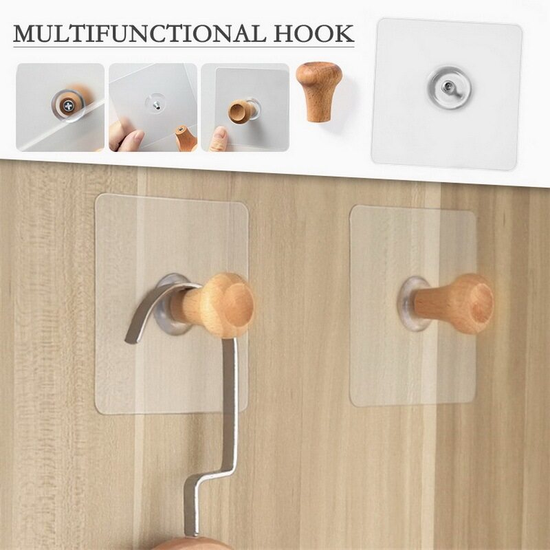 Magic Hook for Wall Without Nails Wooden Transparent Strong Sticky Heavy Magic Wall Hook Adhesive Hooks