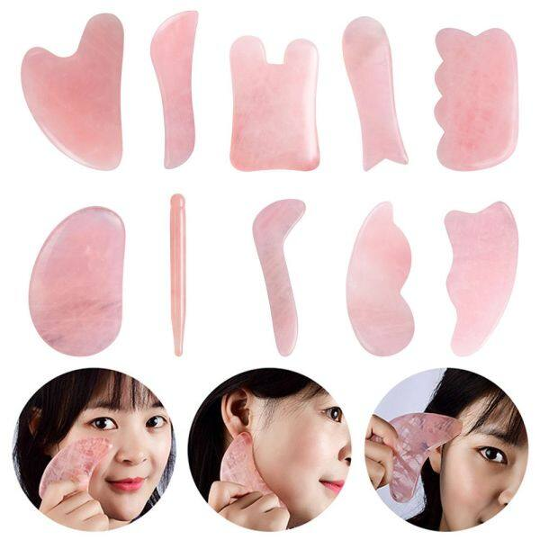 EASYEAH Neck Anti Aging Natural Stone Scraper Pressure Therapy Jade Board Guasha Stone Gua Sha Scraper Natural Facial Massager