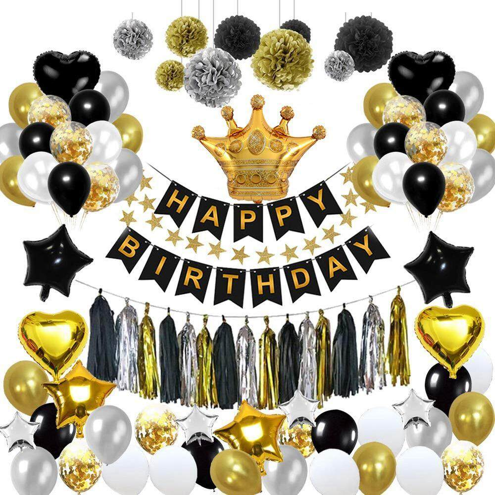 Product Details Of OutFlety Birthday DecorationsBirthday Party Decoration Kit 92 93 Pcs Happy Confetti Balloons With Paper Pom Black And Gold