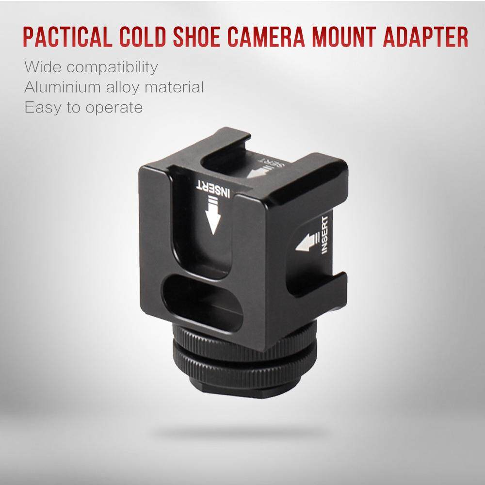 Universal Aluminium Alloy Cold Shoe Camera Mount Adapter With 4 Cold Shoe Mount 1/4 Inch Screw Mount For Microphone Led Video Light Monitors Camera Accessories For Sony Canon Nikon Dslr Dv Cameras Flash Bracket.