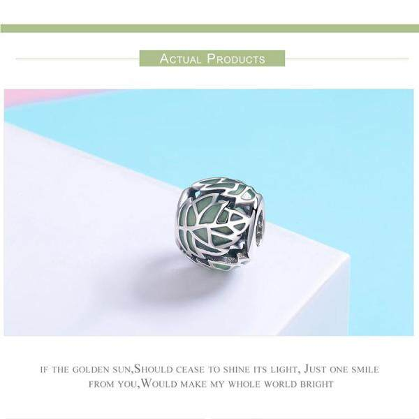S925 sterling silver beads green leaves breath of youth girl ornaments