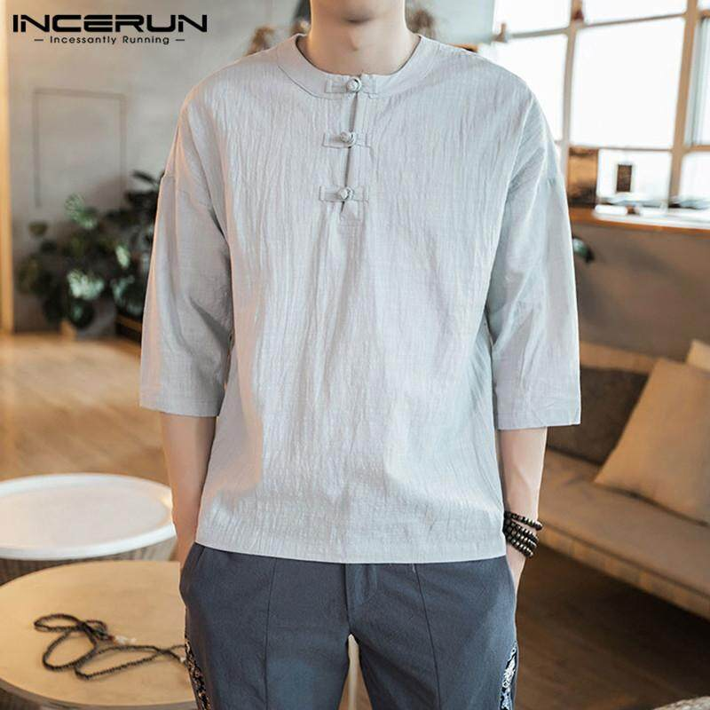 1aada5785d5d INCERUN Summer Mens Cotton Linen 3/4 Sleeve Retro Casual Shirts Loose  Chinese Style Tops