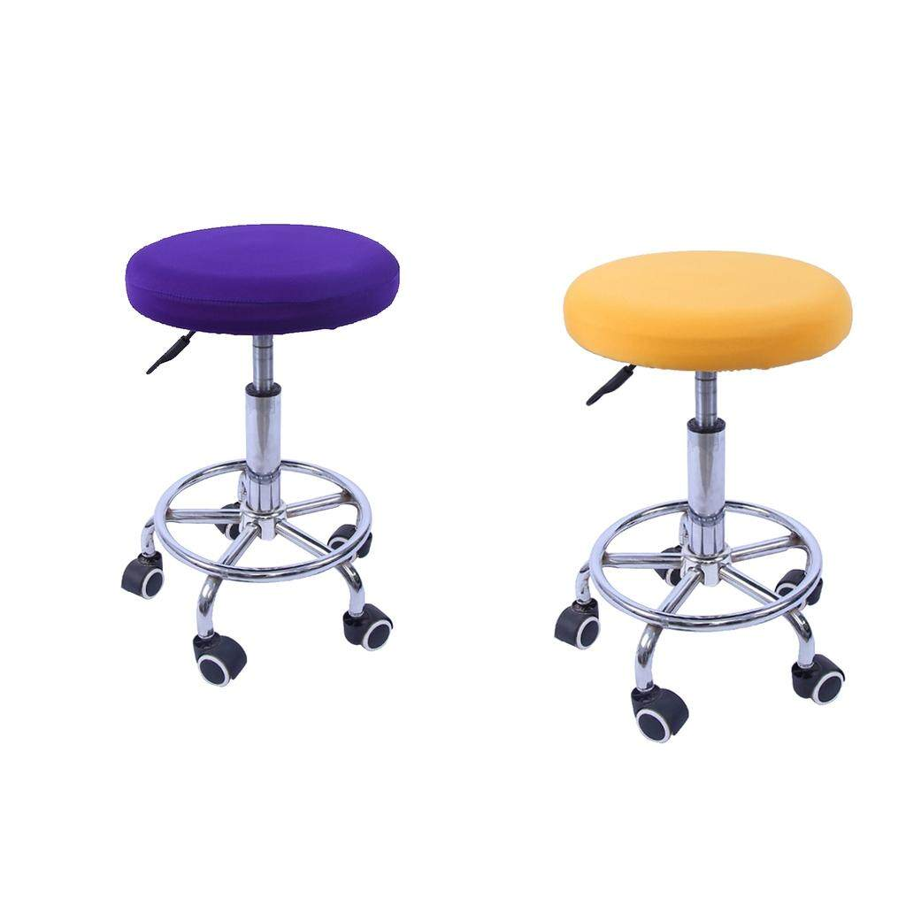 Perfk 2x Round Bar Stool Cover Swivel Chair Cover Sleeves Elastic Yellow & Purple (Chairs Are Not Included)