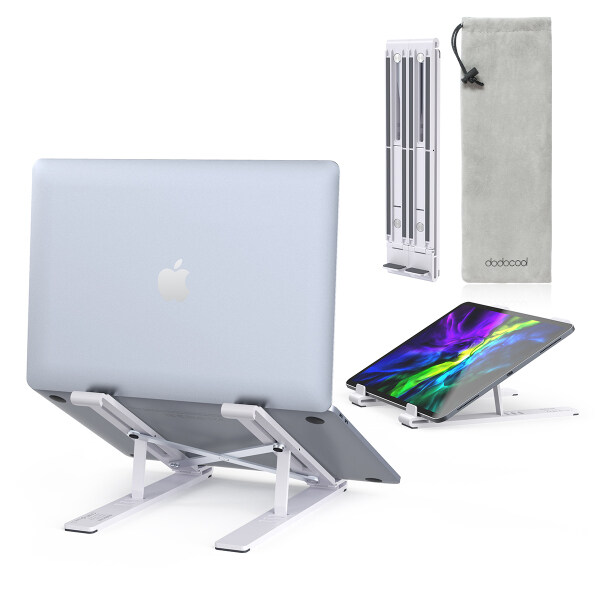 [New Arrival ]Dodocool Laptop Stand Portable Adjustable Tablet Computer Stand,Aluminum Alloy Folding Laptop Stand Compatible Ma-cBook Air Pro,H-P,Le-novo More 8-17.3Laptops