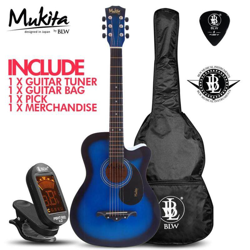 Mukita by BLW Standard Acoustic Folk Cutaway Basic Guitar Package 38 Inch for beginners with Bag, Pick, Digital Tuner and Merchandise Sticker Malaysia