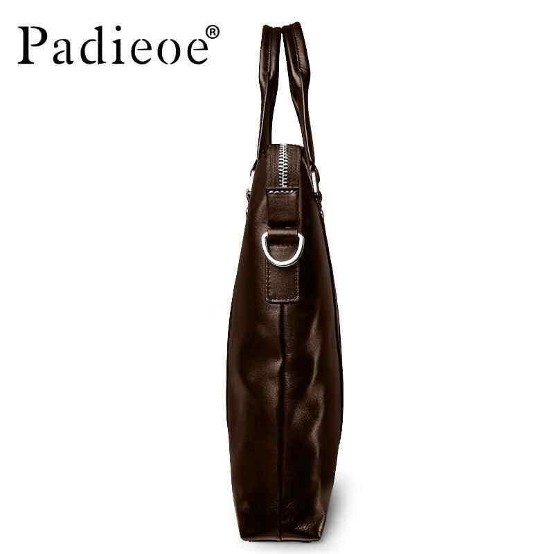 GoodGoal Padieoe Mens Business Bag Genuine Leather Briefcase Laptop Youth Bag Tote Black 15.5inch