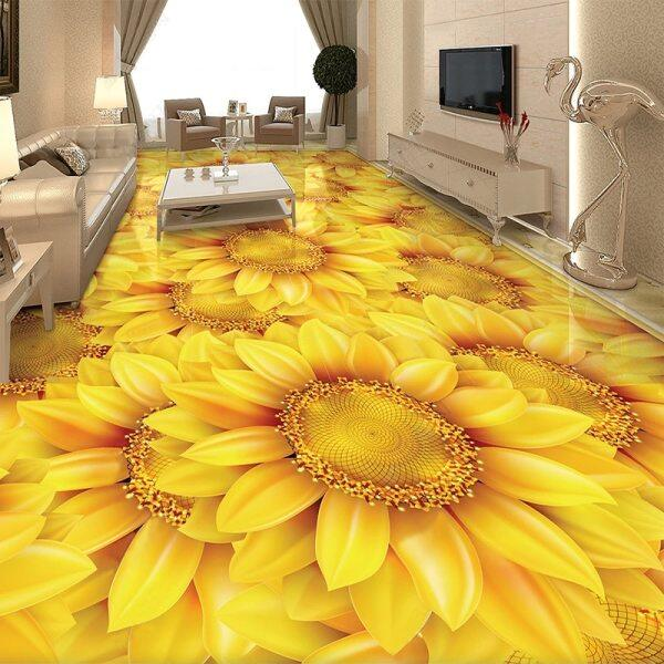 Adat Sendiri-Pelekat Lantai Wallpaper Moden Loji Bunga Matahari Bunga 3D Jubin Lantai Mural Bilik Tidur Bilik Tidur Bilik Tidur Rumah Pelekat Hiasan