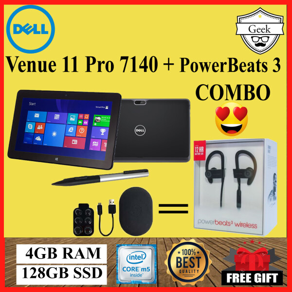 Dell Venue 11 Pro 7140 Tablet + PowerBeats 3 Bluetooth ~ Core M5-5th Gen - 4GB RAM - 128GB SSD - 10.8 Inch Malaysia