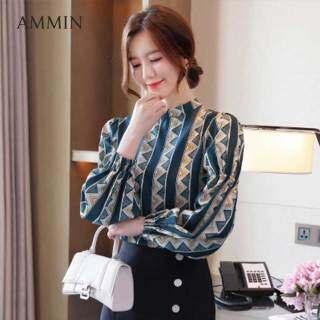 Áo kiểu ammin dài tay cho nữ, áo sơ mi voan công sở in hình, cổ đứng, kiểu dáng thời trang Hàn Quốc thumbnail