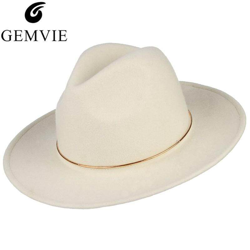 b1c81683 GEMVIE Brand 100% Wool White Woolen Felt Fedoras Hat For Women and Men  Metal Ring