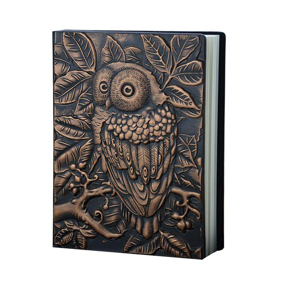 efuture Owl Embossed Leather Journal, Vintage Engraved Daily Weekly Monthly Planner Creative European Retro Notepad Travel Notebook for Business Gift