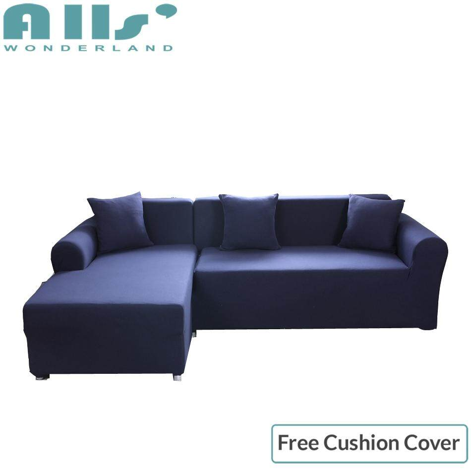 【slipcover】2pcs pure color stretch sofa slipcover elastic sofa cover for l shape sofa