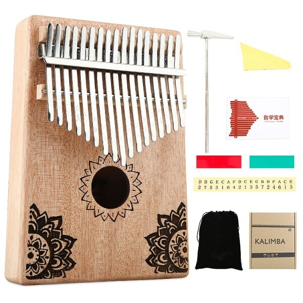 17 Key Kalimba African Solid Wood Thumb Finger Piano Sanza Mbira Calimba Play with Guitar Wood Musical Instruments