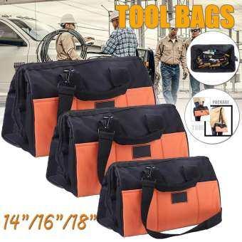 【การจัดส่ง + แฟลช Deal】14  16  18  ผ้าออกฟอร์ดหนาฮาร์ดแวร์ช่างกระเป๋าเครื่องมือกระเป๋าเป้สะพายหลังกระเป๋า Organizer-